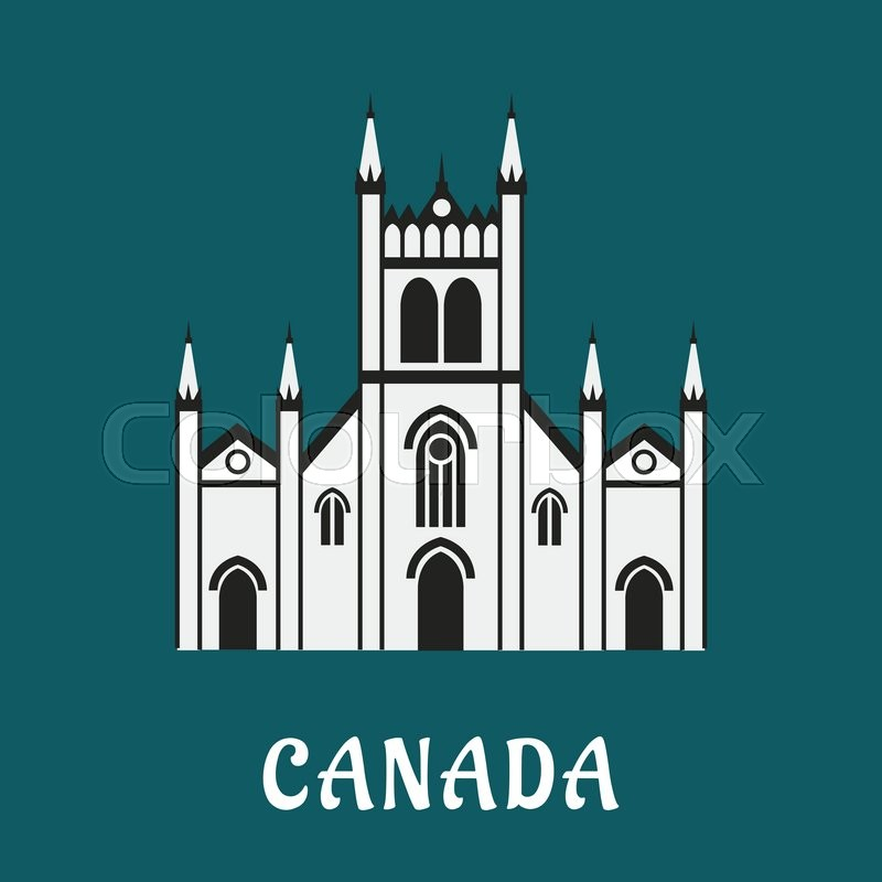Canadian architecture landmark concept with gothic temple for travel or religious design, vector