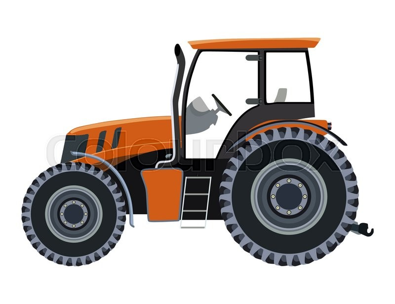Side Picture Of Tractor : Orange tractor a side view on white background stock