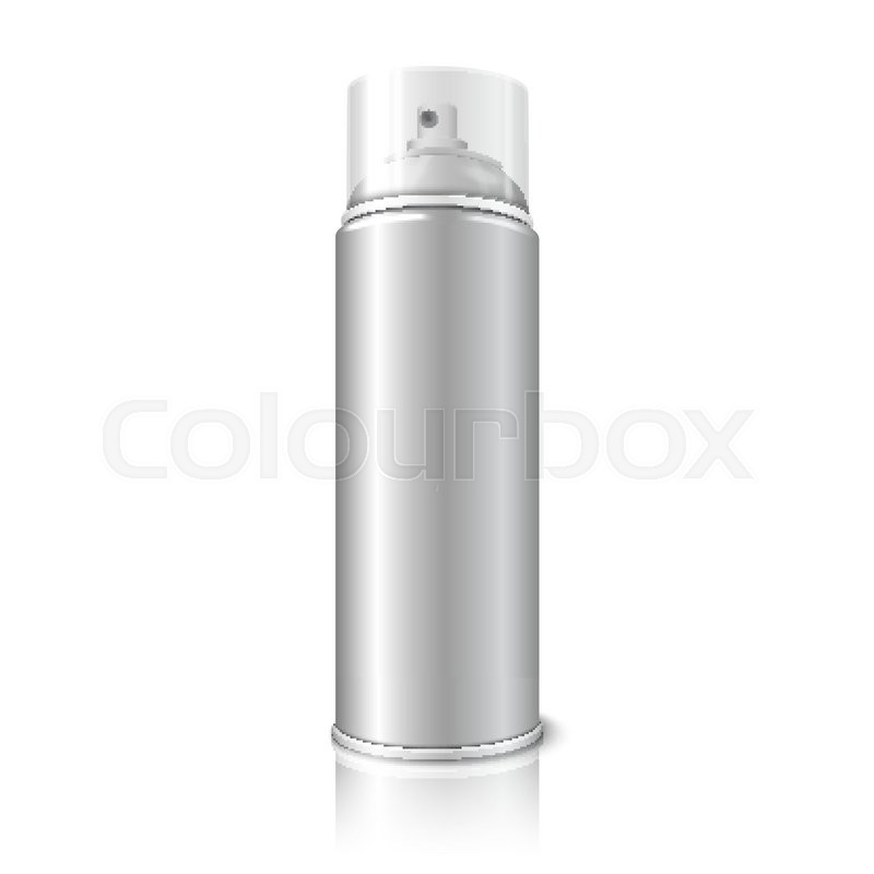 Blank vector realistic aerosol spray metal 3d bottle can with transparent cap isolated on white Paint with spray can