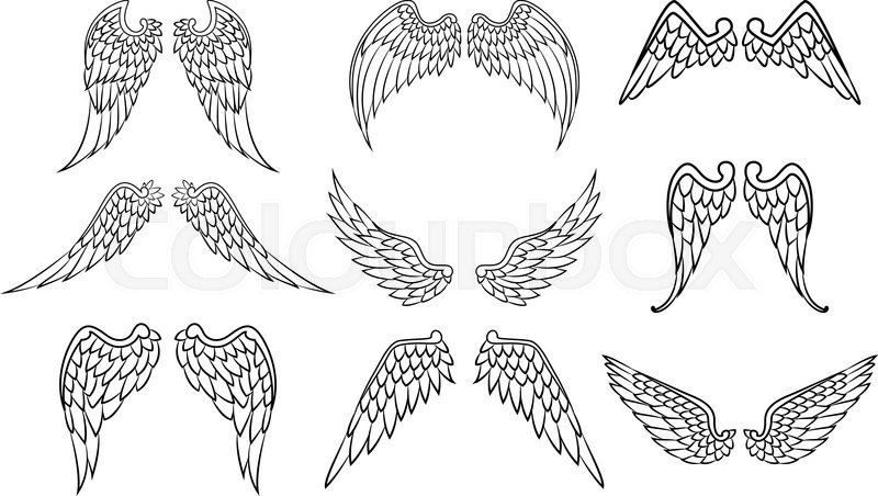 Vector Illustration Of Wings Set For Tattoo
