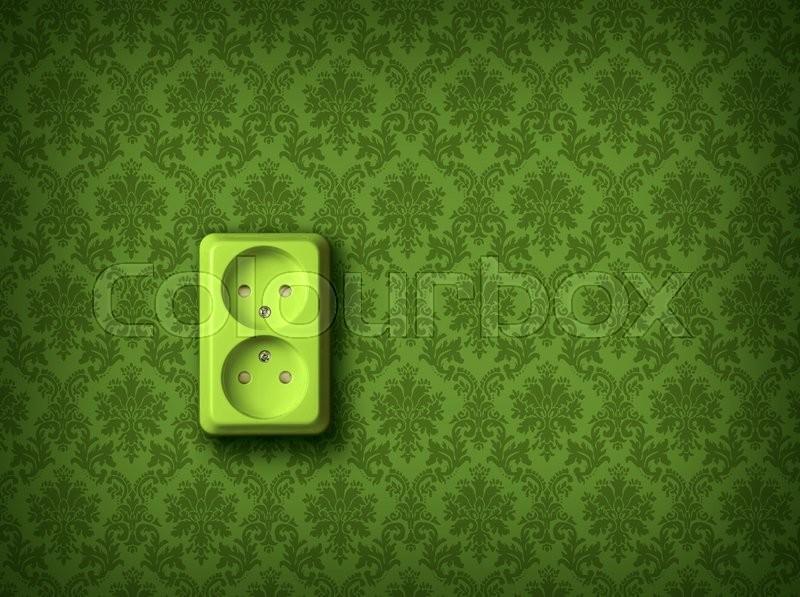 Green socket on green wall, renewable eco energy concept, stock photo
