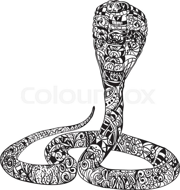 Vector Snake Cobra Zentangle Stock Vector