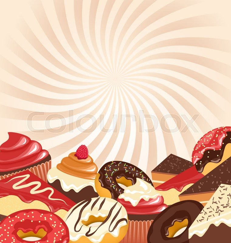 Sweets With Radial Stripes On Beige Background Stock