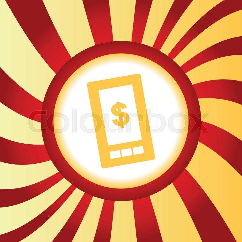 Yellow Icon With Dollar Symbol On Phone Screen In The Middle Of