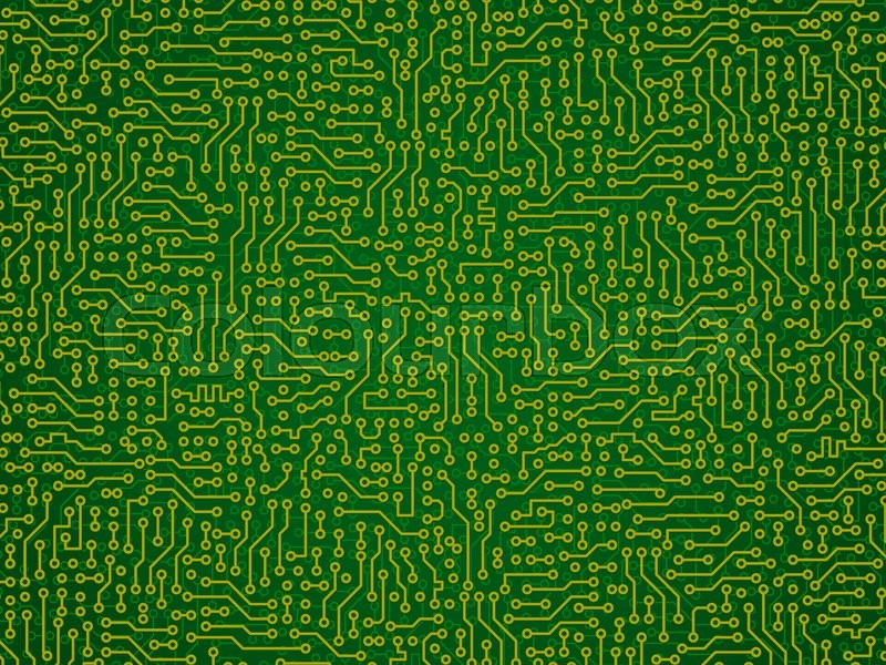 Green abstract vector background - electronic circuit board pattern ...