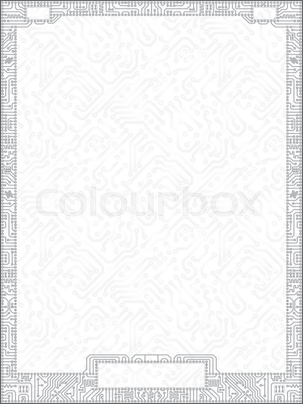 hi tech vector circuit board vertical gray certificate blank with