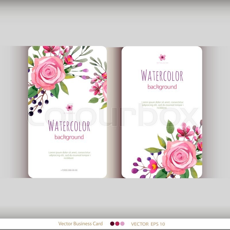 Set Of Abstract Watercolor Cards Stock Vector