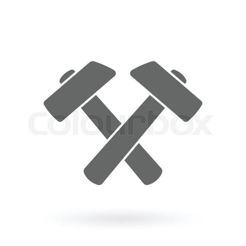 Two Hammer Icon Design As Industrial Symbol Vector Illustration
