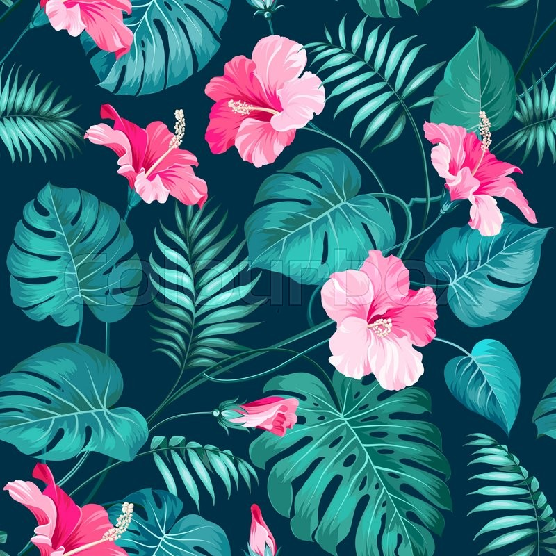Tropical Flower Seamless Pattern. Blossom Flowers For