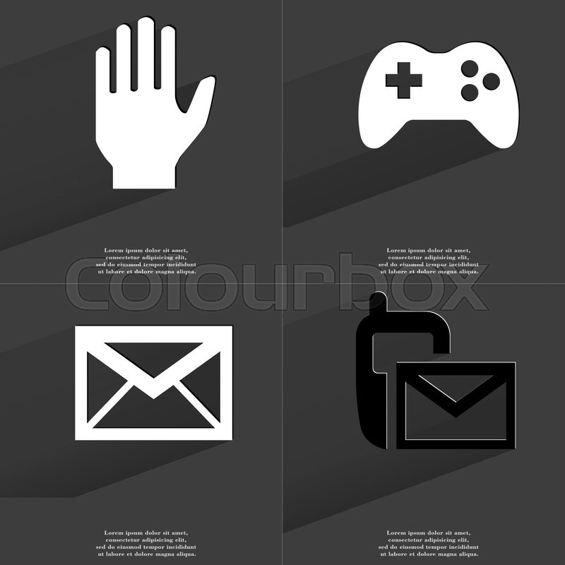 Hand Gamepad Message Sms Icon Sign Set Of Symbols With Flat