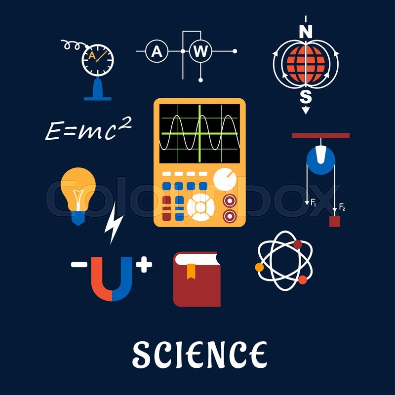 Science Flat Icons Set With Symbols Of Physics Such As Magnet