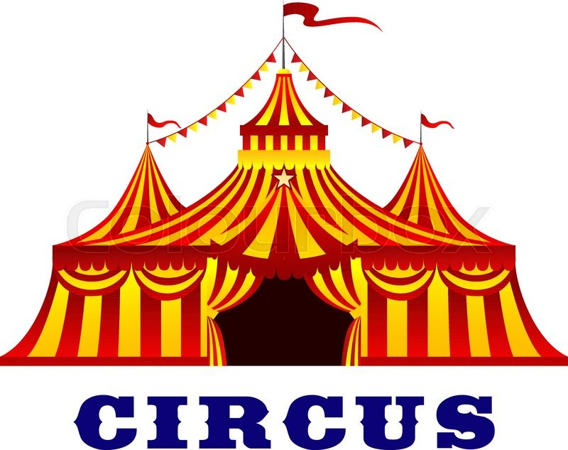 circus red and yellow striped tent in retro style  with carnival clip art cruise ship carnival clip art border