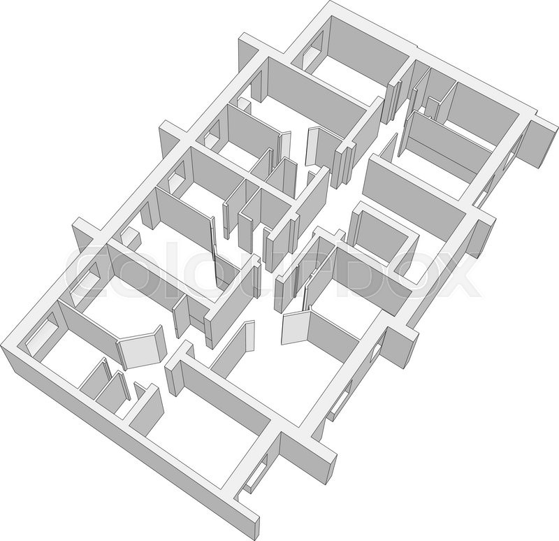 Building plan on isolated white background. Vector illustration. Top ...
