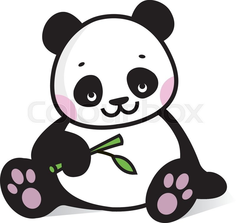 drawing baby panda with branch of bamboo stock vector colourbox