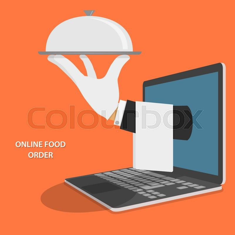 Online Food Delivery Isometric Flat Vector Concept. Hand Of Water With Dish And Towel Appeared From Laptop, vector