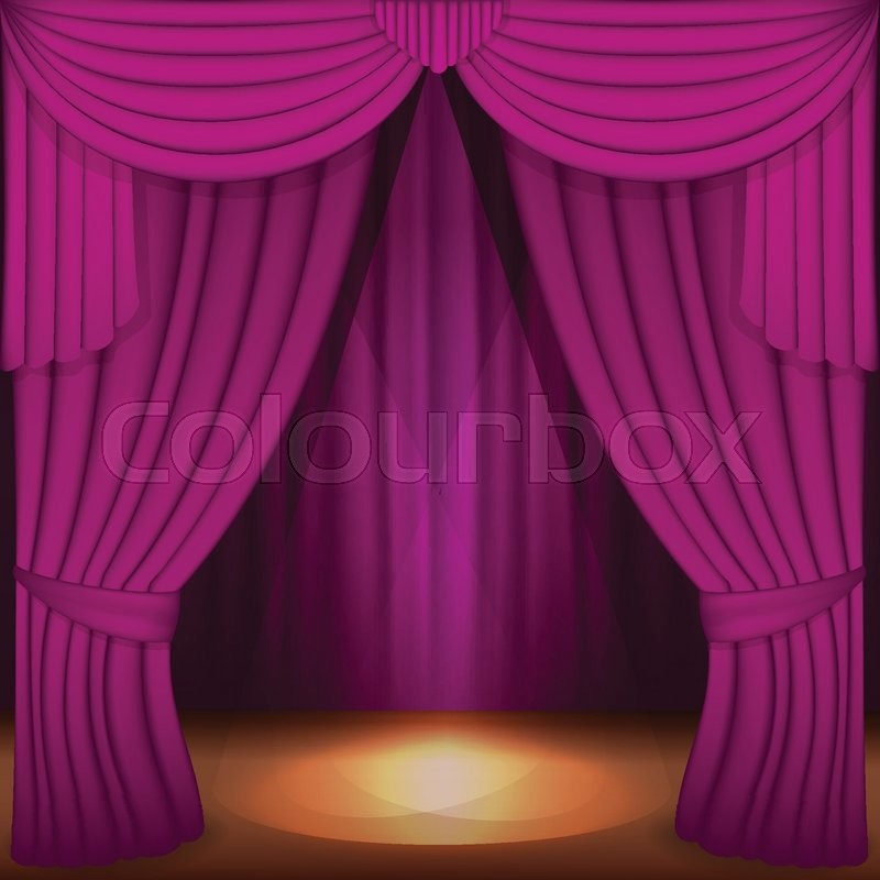 Scene with purple curtains curtain velvet drapes and accent lighting