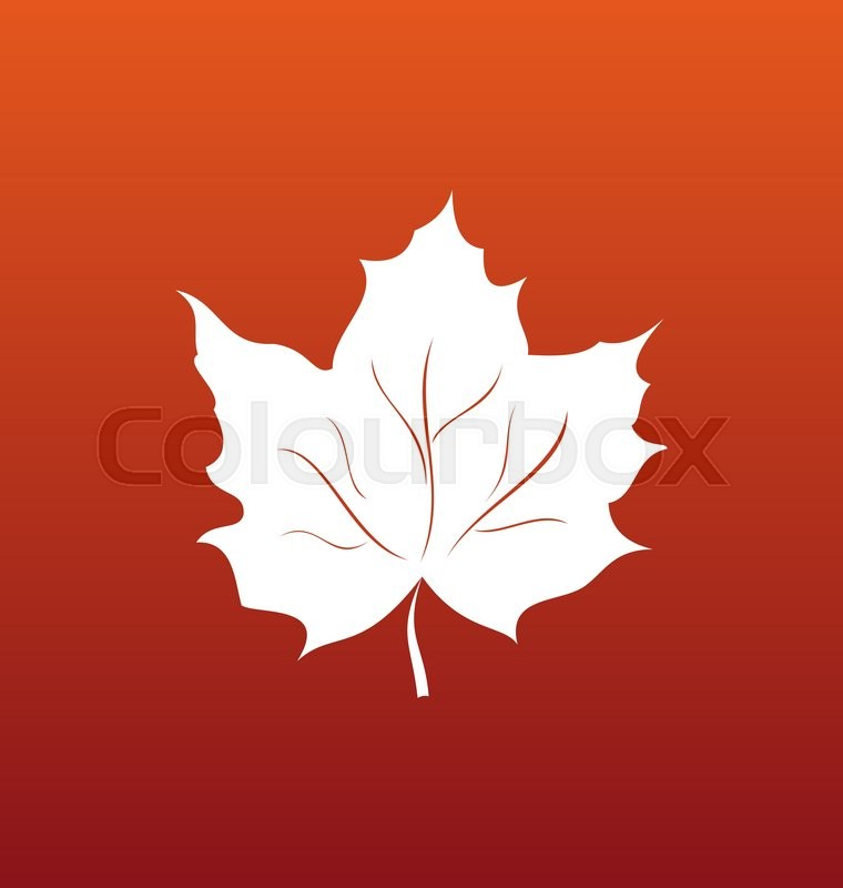 Illustration Maple Leaf On Orange Background Canadian Symbol