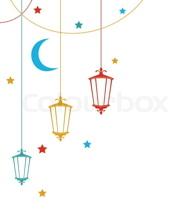 Illustration Ramadan Kareem Background With Colorful Lamps