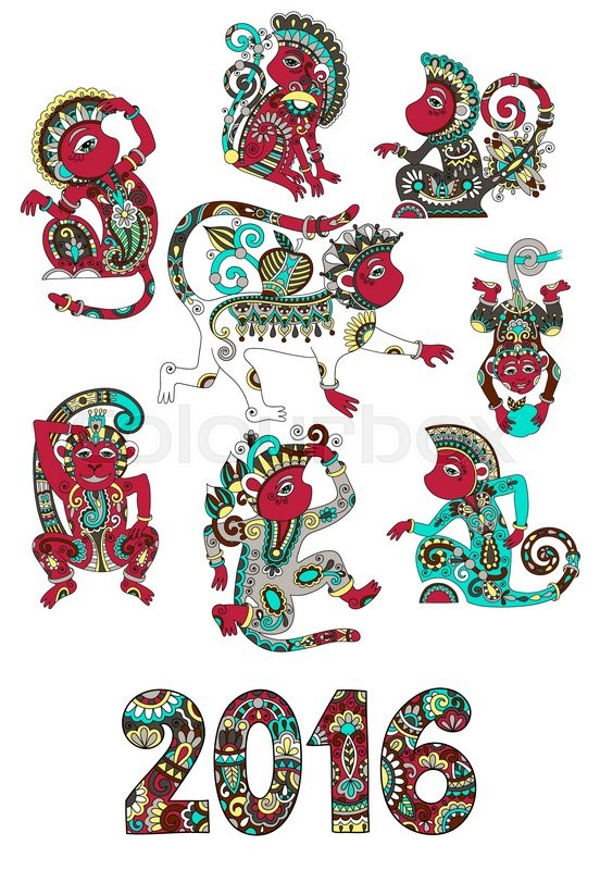 Set Of Different Colors Decorative Monkey Chinese Symbol 2016