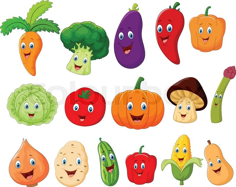 vector illustration of cute vegetable cartoon character Drawings of Fruits and Vegetables Basket of Fruits and Vegetables