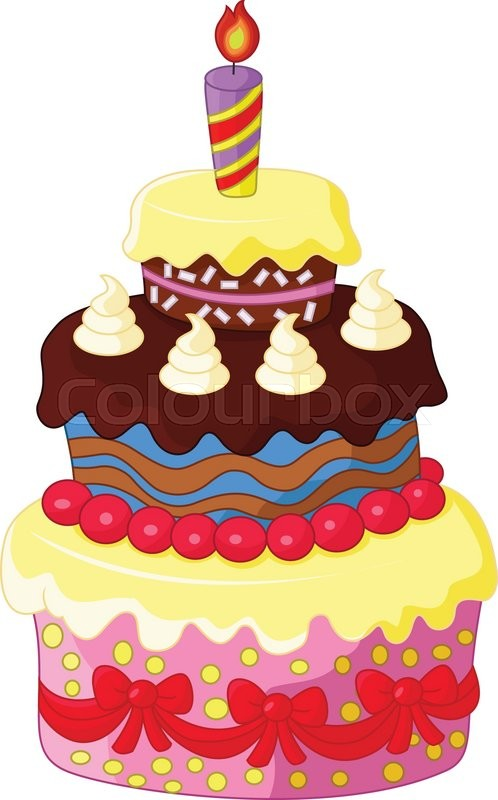 Vector illustration of Cartoon Birthday cake | Stock ...
