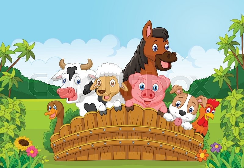 Vector illustration of Collection farm animals cartoon in ...