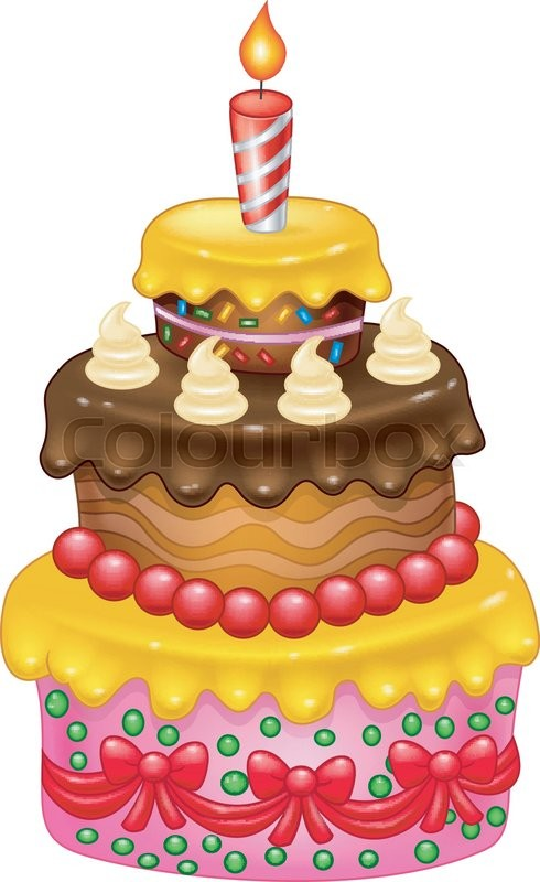 Vector Illustration Of Cartoon Birthday Cake Stock Vector Colourbox