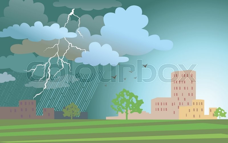 Dramatic landscape with approaching a storm and a rain on a urban buildings, vector