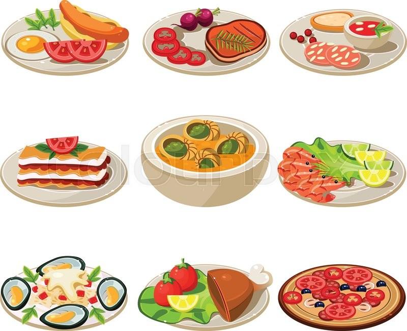 Cuisine Illustration set of food icons. european lunch. vector illustration | stock