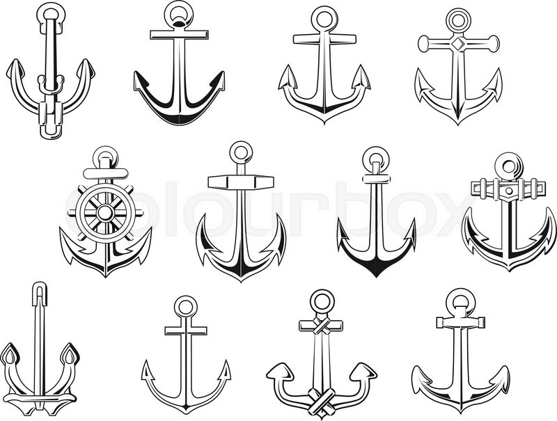 Vintage Anchor Symbols In Outline Sketch Style Isolated On White