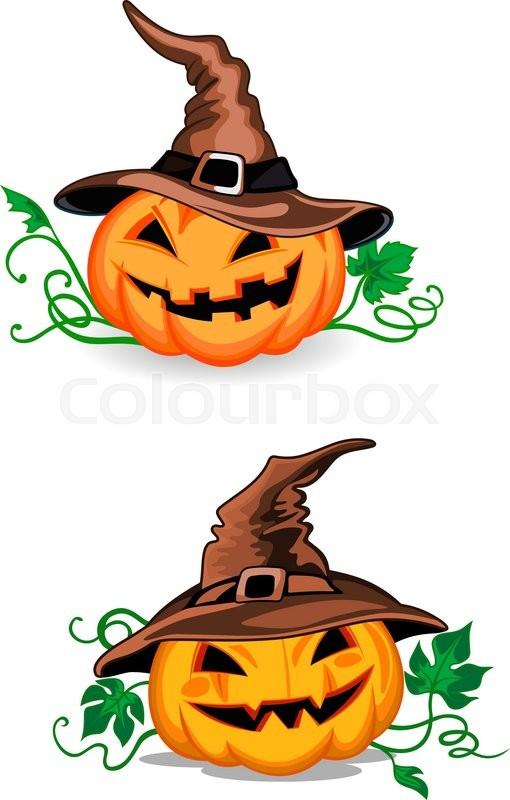 cute pumpkin halloween lanterns with witch hats in cartoon style