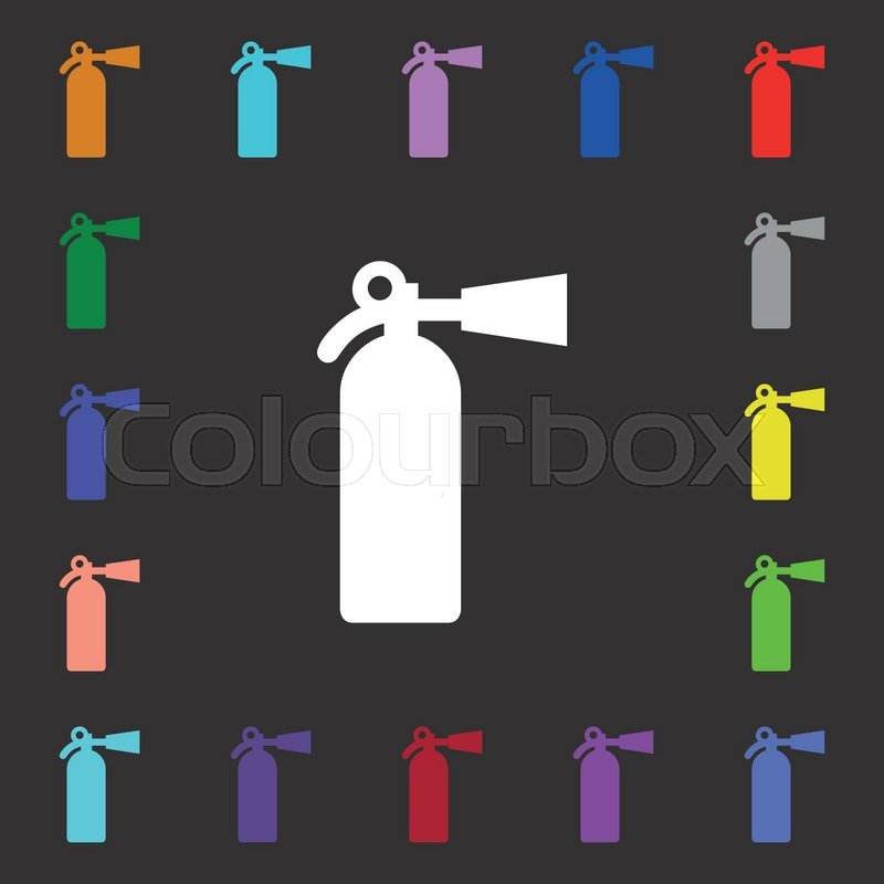 Fire Extinguisher Icon Sign Lots Of Colorful Symbols For Your