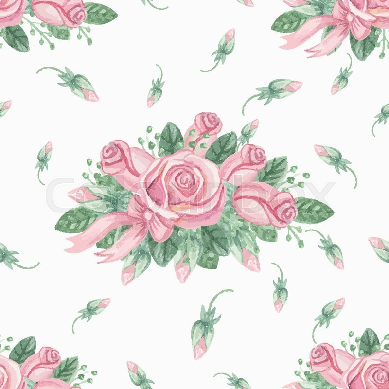 Watercolor Floral Seamless Pattern With Pink Roses BudsCute Vintage Flowers Hand Drawing Painting Background For Backdropbackgroundfabric Wallpaper