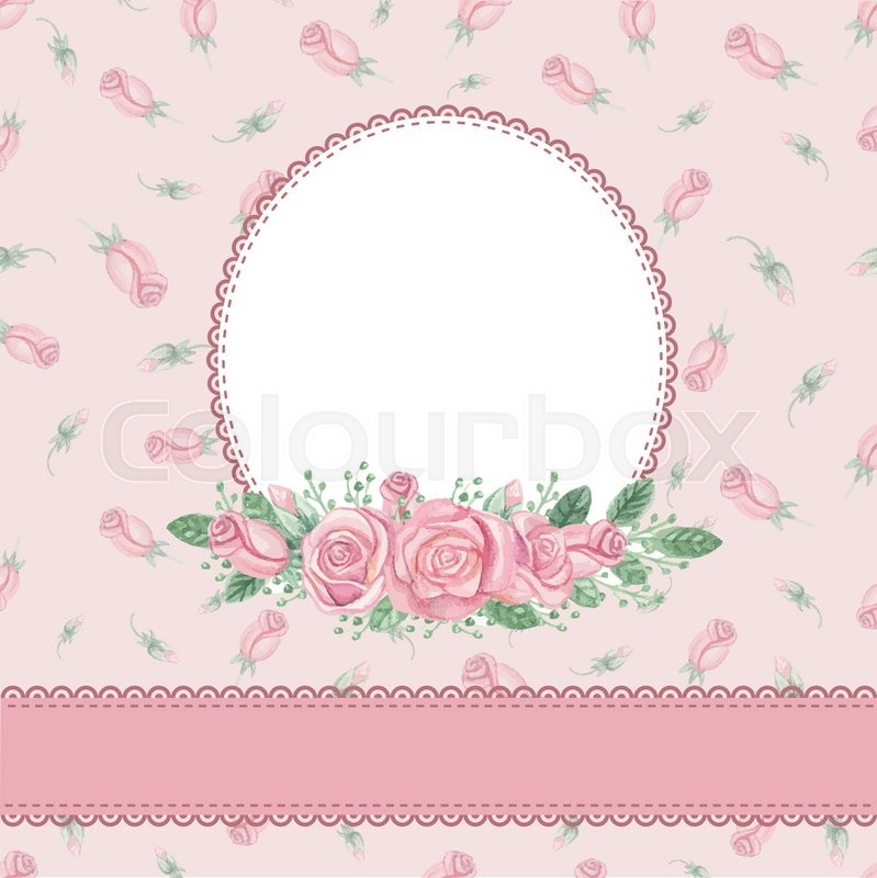 Watercolor Pink Roses Bouquetlabelribbonfloral Pattern