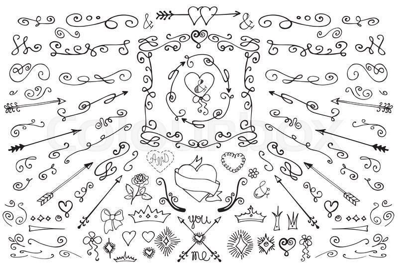 Colored doodles flourish border arrows frame brushes floral colored doodles flourish border arrows frame brushes floral decor elements set r design template invitation card and menu stopboris Image collections