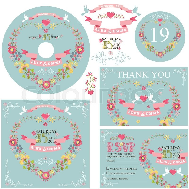 Retro wedding design template set with floral decorribbonspigeot retro wedding design template set with floral decorribbonspigeotborder cute cartoon floral wreath in heart shape in retro styleding invitation cd stopboris Images