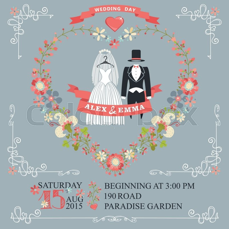 Retro wedding invitation with floral wreath in heart shape. Cute ...