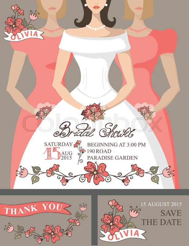bridal shower invitation setportrait of bridebridesmaids with floral decorhand writing textbridal shower invitationsave the date card thank you card