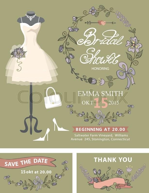 Bridal shower invitation set.Wedding dress and bridal accessories ...