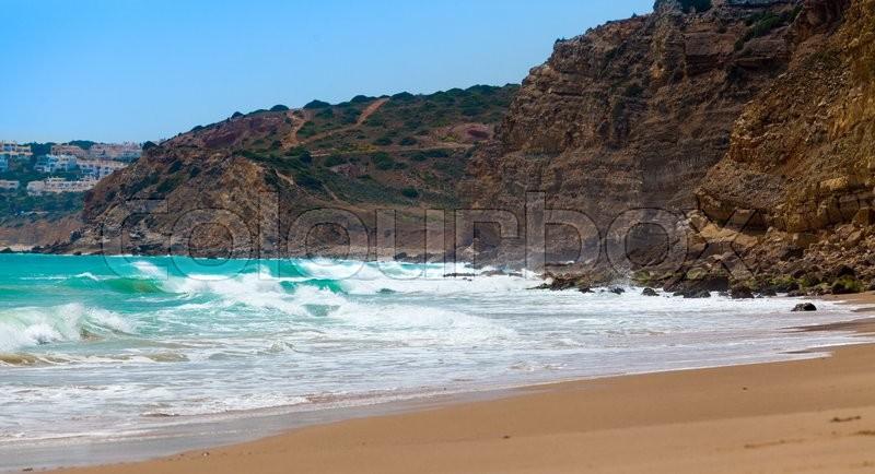 Algarve, Portugal, Europe. Atlantic coast. ocean waves of Atlantic Ocean, stock photo