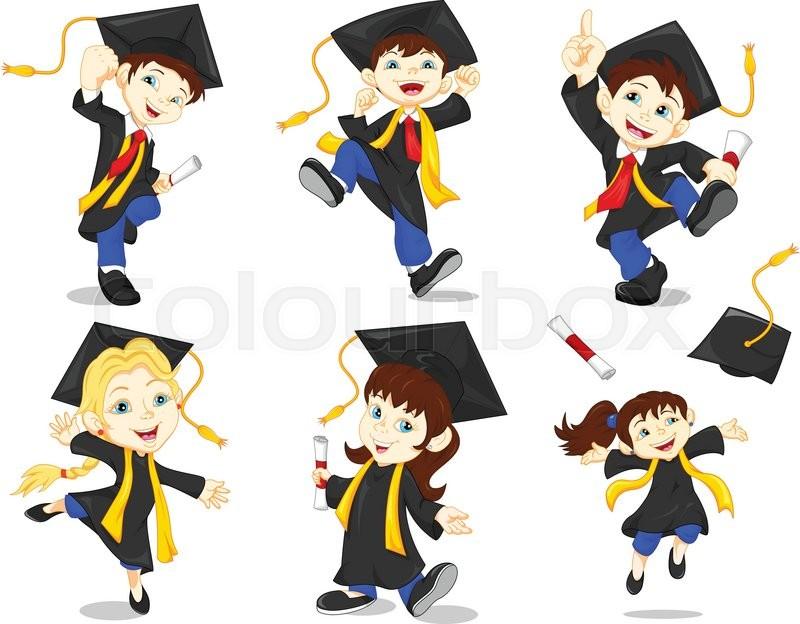 Vector illustration of Happy graduates | Stock Vector ...