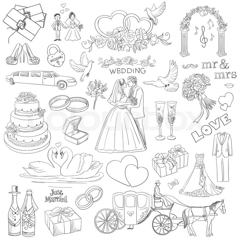 Hand drawn collection of decorative wedding design elements hand drawn collection of decorative wedding design elements decorative set of holiday objects and signs vector junglespirit Images