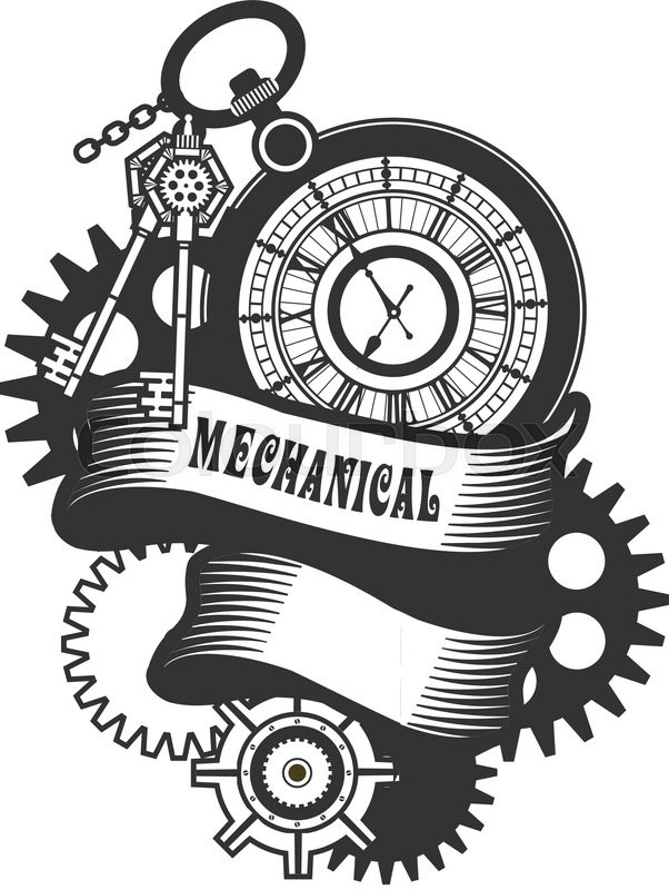 Vector Steampunk mechanical clock and rotating parts in a ...