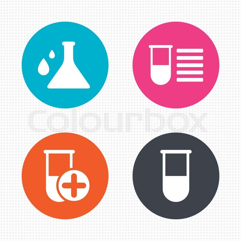 Circle Buttons Chemistry Bulb With Drops Icon Medical Test Signs
