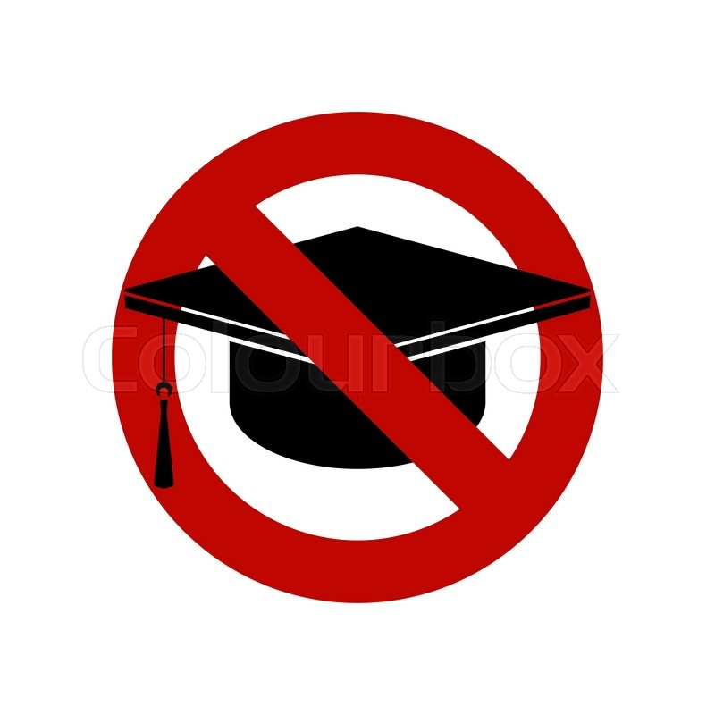 No Education Sign Square Academic Cap Black Vector Icon