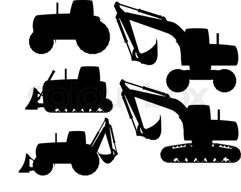 Heavy Equipment Silhouette : Set of heavy construction machines silhouette vector