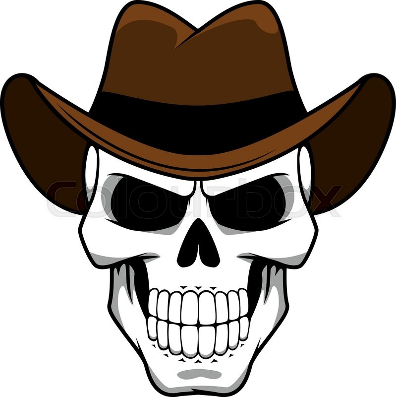 3e6f76ab0b0 Spooky cowboy skull character with classic brown felt hat in cartoon style  for tattoo