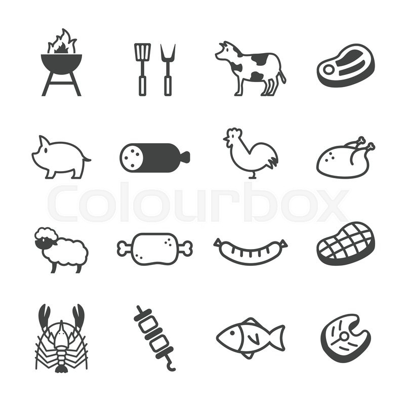 Bbq Barbecue Coloring Pages besides Logos De Cuisine Barbecue 722575 additionally Steak Cuts Rindfleisch in addition Meat Icons Vector 10264298 moreover One Touch Silver 18 1 2 Inch. on bbq grill