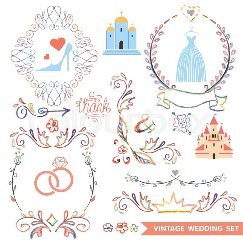 vintage vector floral doodles wreath borders with wedding iconsdesign template for label invitation cardbridal shower vector illustration stock