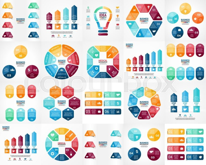 Vector infographics set. Templates for cycle diagram, graph ...